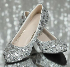 "Luxury Silver Bling Crystal Diamond Wedding Shoes Bridal High Heels Pumps 2""/3"""