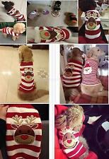 Christmas Reindeer Stripe Pet Dog Puppy Pullover Sweater Clothes Coat Apparel