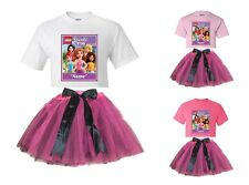 """""""Lego Friends"""" Personalized White or Pink T-Shirt & Pink&BlackTutu-NEW"""