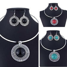 Women Vintage Fashion Round Necklace Earrings Turqoise Sets For Jewelry Sets