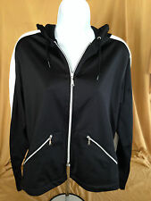 TAIL Womens Tennis Sports Black White Long Sleeve Zipper Hoodie Medium Jacket