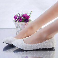 White Lace Flowers Pearl Wedding Shoes Flat Heels Bridal Shoes Flats Size 3-11
