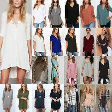 Women Sexy V Neck Blouse Casual Tops Shirts Tunic Irregular Loose Dress Pullover