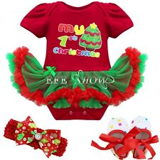 Baby Girl My 1st Christmas Romper Xmas Tree Dress Clothes Bodysuit 3PCS Outfit