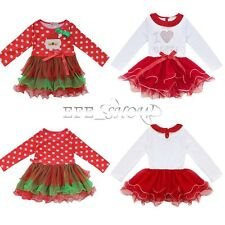 Kid Christmas I Love Santa Bodysuit Baby Girls Xmas Dress Up Costume Outfit 1-8Y