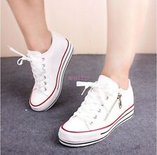 Preppy Girls Womens Canvas Fashion Sneakers Lace Up Hidden Wedge Heel Shoes C-22