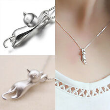 925 Sterling Pure Silver Necklace. Cat Pendant Lovely Sweet Jewelry.