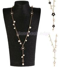 White Black Korean Five-petaled Flowers Faux Pearl Long Necklace Sweater Chain