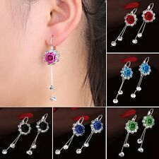 Wedding Dangle Rose Flower Crystal Rhinestone Stud Earring Wedding Jewelry + Box
