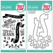 "Avery Elle ""FA LA LA"" Clear Stamps Only OR Clear Stamp and Die Bundle"