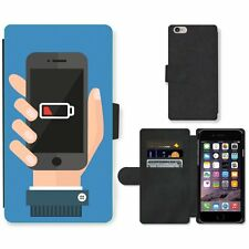 Phone Card Slot PU Leather Wallet Case For Apple iPhone Smartphone Battery Level