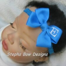 TURQUOISE MONOGRAMMED PERSONALIZED DAINTY HAIR BOW MONOGRAM HEADBAND A-Z LETTERS