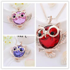 Statement Tide 2016 Round shape Chain Rhinestone Owl  necklace Pendant Vintage