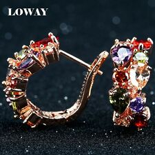 LOWAY Many Colors Flower Cubic Zirconia Gold Plated Earrings Women Fashion Jewel