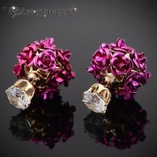 Romantic Double Side Rose Flower Earring Fashion Brand 18K Gold Plated Jewelry 7