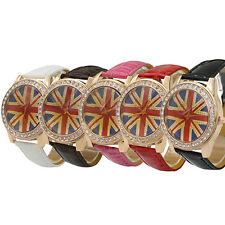 England UK British Flag Woman's Crystal Leather Quartz Wrist Watch New Trendy