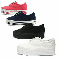 Women's Platform Canvas Low Cut Sneakers Shoes Ladies Trainers