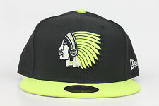 Boston Braves Chieftain Logo Black Neon Yellow New Era 59Fifty Fitted Hat Cap