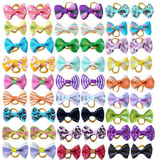 Cute Assorted Pet Hair Bows W/Rubber Band Dogs Cat Puppy Headdress Accessories