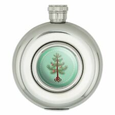 Round Stainless Steel 5oz Hip Flask Holiday Christmas New Years