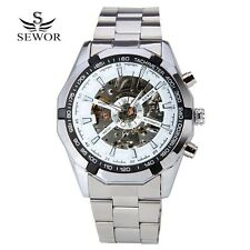 Watch Men Luxury Stainless Steel Automatic Mechanical Skeleton Wristwatch Men Si