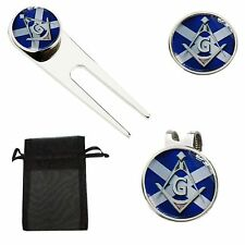 FREEMASON SCOTTISH MASONIC GOLF BALL MARKER & DIVOT TOOL HATCLIP PITCH TOOL