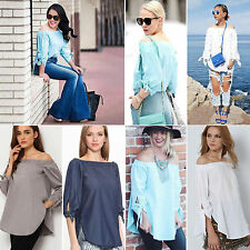 Fashion Womens Lady Sexy Off Shoulder Casual Long Sleeve Slim T-Shirt Top Blouse