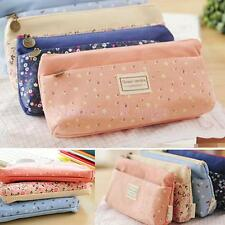Canvas Pencil Case Cosmetic Coin Pouch Zipper Bag Girl Purse 4 Colors Pick