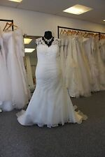 UK Seller Organza and lace bodice Fitted PLUS SIZE wedding dress