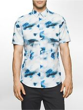 calvin klein mens classic fit abstract cloud short sleeve shirt