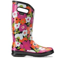 LADIES BOGS SPRING FLOWERS BLACK MULTI WELLIES FESTIVAL RAINBOOT SIZE 4–9 71897