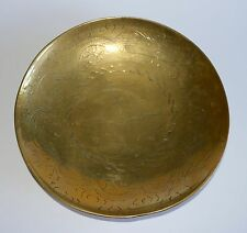 VINTAGE CHINESE SOLID BRASS ROUND SHALLOW BOWL DRAGON CHASING PEARL OF WISDOM