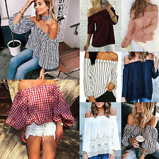 Boho Womens Off Shoulder Boat Neck Shirts Loose Long Sleeve Casual Blouse Tops