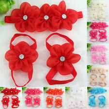Baby Infant Girl New Fashion Crystal Foot Flower Barefoot Sandals Headband Set