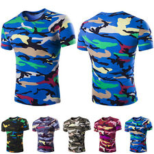 Mens Fashion Crew Neck Casual T-Shirt Short Sleeve Slim Fit Cool Camouflage Tops