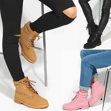 Womens Ladies Fashion Classic Worker Ankle Boots Flat Heel Combat Lace Up Shoes