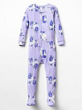 Baby Gap pajamas NWT CATS and DOGS kitty puppy purple footed sleeper 3-6-12
