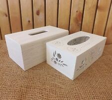 Shabby Chic White Wooden Tissue Cover Storage Box Solid Grain / Hearts & Flowers