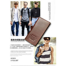 Hot Men's Faux Leather Long Fashion Wallet Purse Credit Card Checkbook Trifold