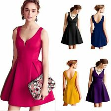 Women V-neck Backless Cocktail Gown Party Evening Prom Sleeveless Short Dress