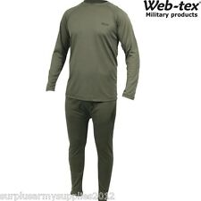 WEB-TEX MILITARY GREEN THERMAL TOP TROUSERS COLD WEATHER BASE LAYER UNDERWEAR