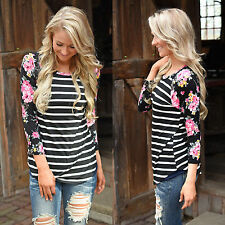 Women Ladies Long Sleeve T-shirt Floral Blouse Striped Jumper Top Shirt Fitted