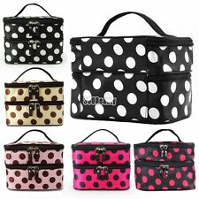 B5UT New Women Portable Cosmetic Retro Dot Pattern Beauty Makeup Hand Case Bag