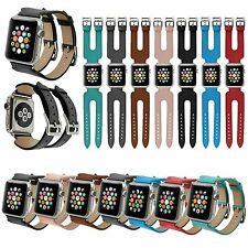 Newest Genuine Leather Double Buckle Cuff Band Strap For Apple Watch 1/series 2