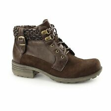 Earth Spirit MOBILE Ladies Womens Suede/Leather Lace Zip Ankle Boots Bark Brown