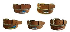 Zep-Pro Embroidered Leather Canvas Belt    Redfish Marlin Mahi Dolphin pic size