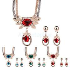 Wedding Bridal Party Womens Crystal Pendant Necklace Earrings Jewelry Sets Hot