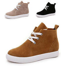 Comfy Womens High Top Lace Up Platform Sneakers Suede Work Casual Flat Shoes New