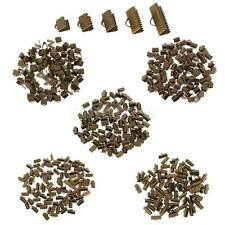100Pcs Jewelry Findings Vintage Antique Bronze Textured End Caps Crimp Beads