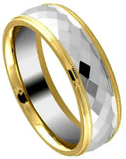 TUNGSTEN CARBIDE Diamond Faceted RING with Golden Accented Edges size 9, 10, 11